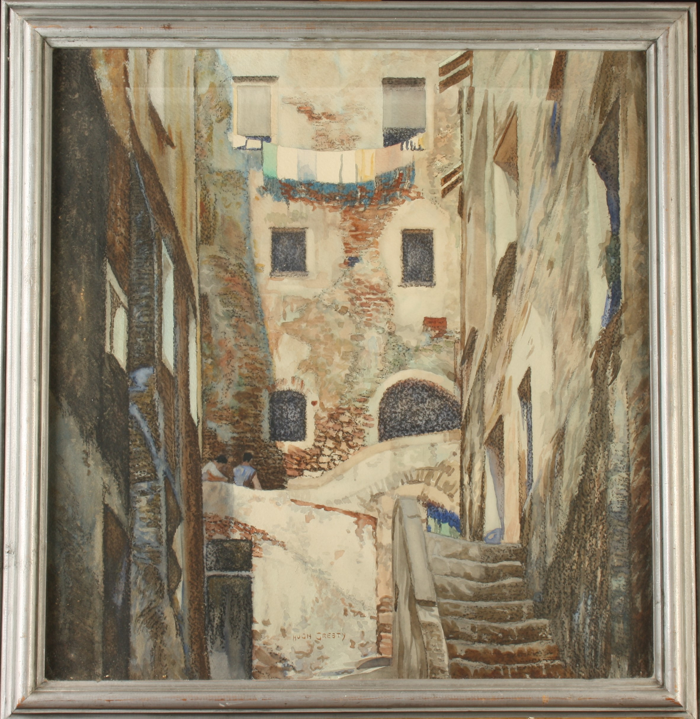 Lot 5 - Hugh GRESTY San Remo Watercolour Signed Together with one other Italian architectural