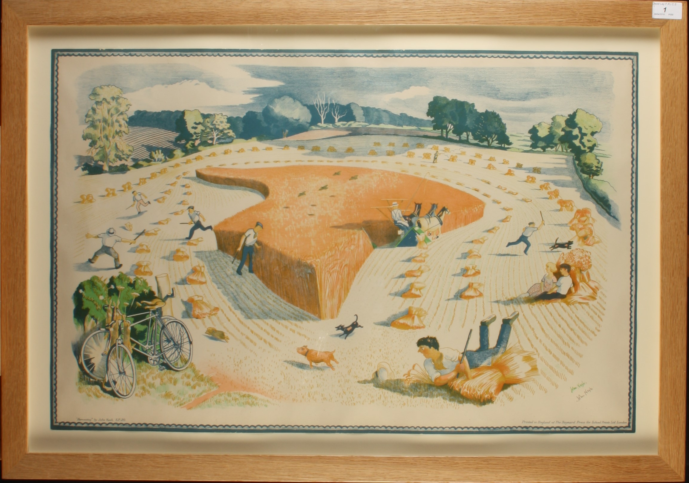 Lot 1 - John NASH Harvesting Lithograph Signed 49 x 75 cm Condition report: Colour of online