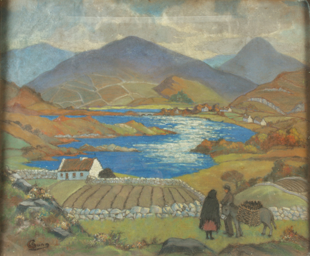 Lot 4 - William Archibald GUNN Connemara Pastel Signed St Ives Society of Artists label to the back 50