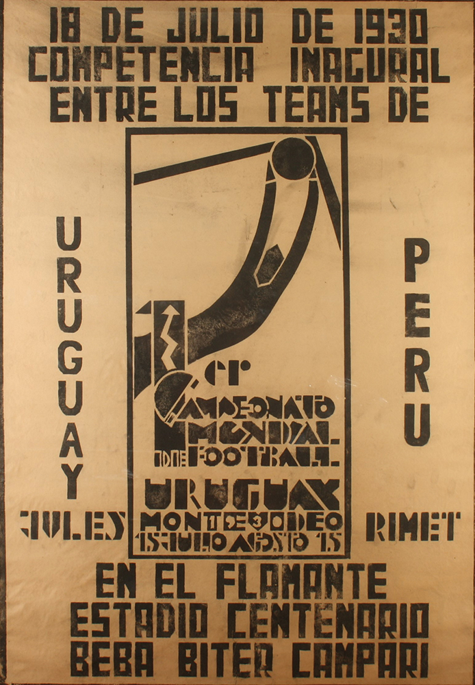 Lot 3 - Guillermo LABORDE Uruguay V Peru World Cup Poster Monoprint 1930 98 x 67 cm (See illustration) The
