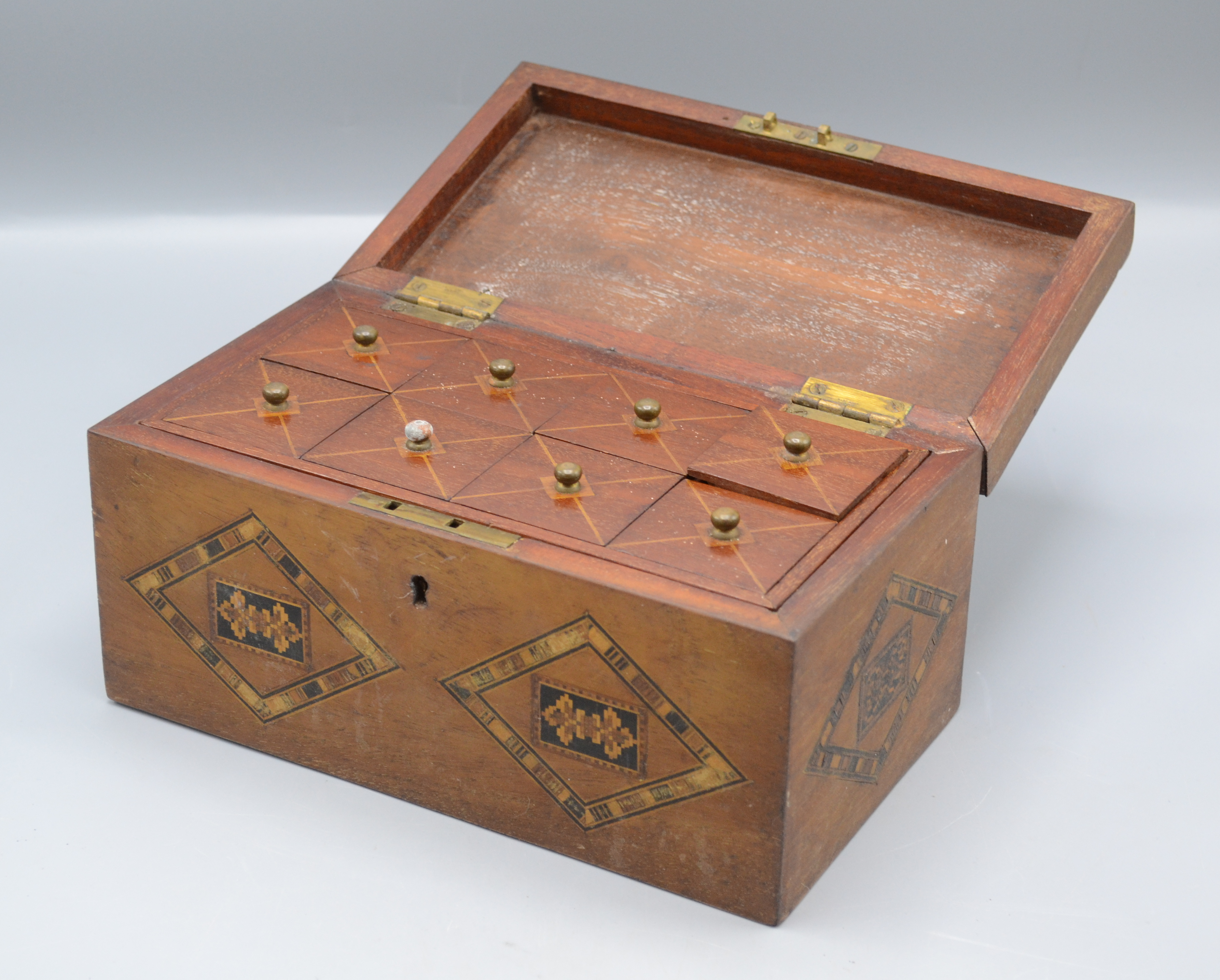 Lot 39 - A Victorian mahogany Tunbridge Ware box, the cover decorated with a moth,