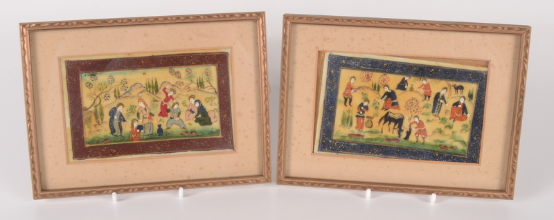 Lot 17 - Two Persian paintings, one depicting a musician and other figures, the other farmers and animals,