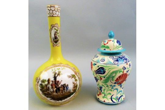 A Helena Wolfsohn Dresden Vase Painted With Gilt Bordered Panels Of
