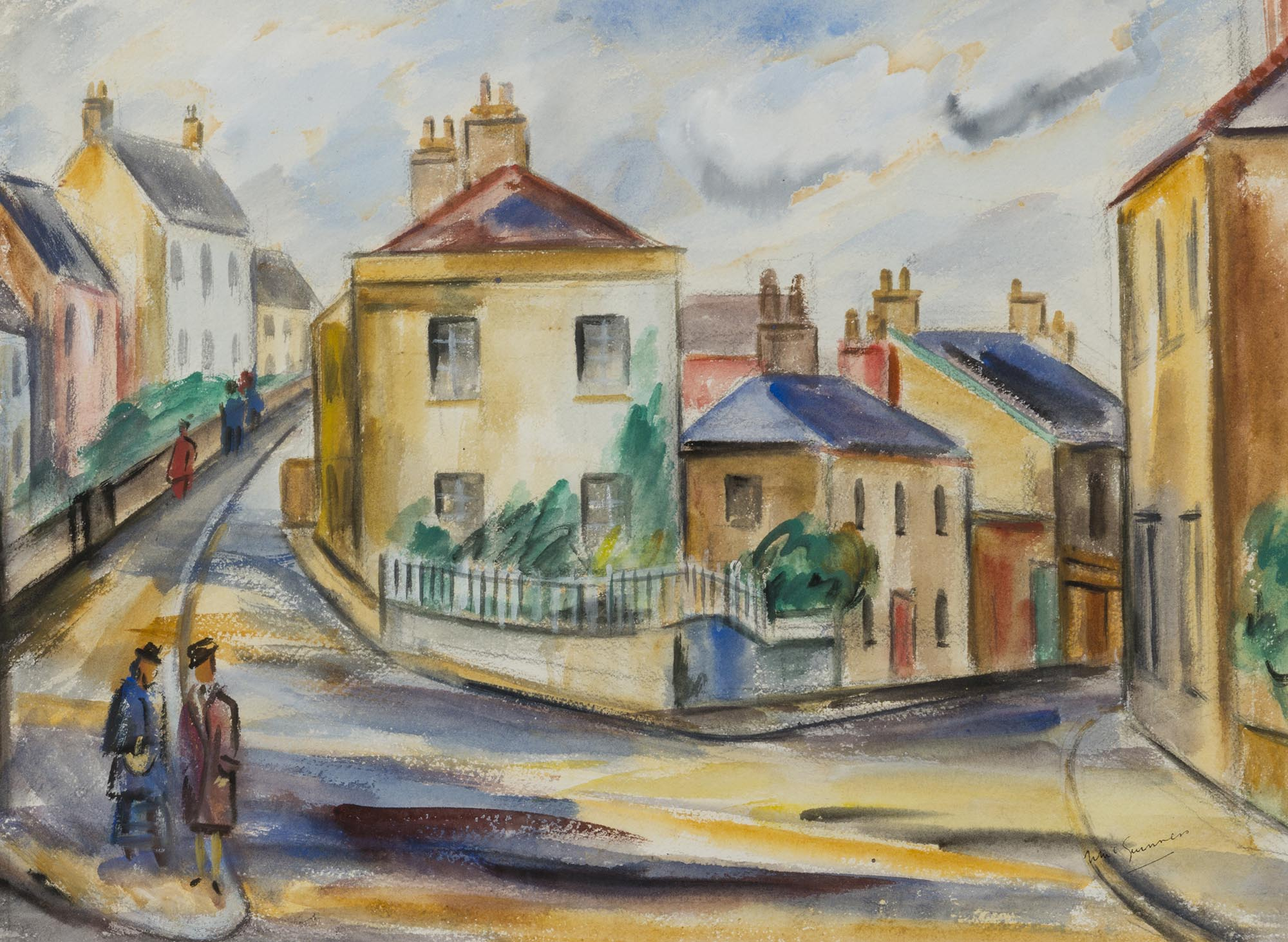 """Lot 8 - Norah McGuinness HRHA 1901-1980 STREETSCAPE, POSSIBLY HOWTH Watercolour, 13 1/2"""" x 18 1/2"""" (34 x"""