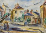 "Lot 8 - Norah McGuinness HRHA 1901-1980 STREETSCAPE, POSSIBLY HOWTH Watercolour, 13 1/2"" x 18 1/2"" (34 x"