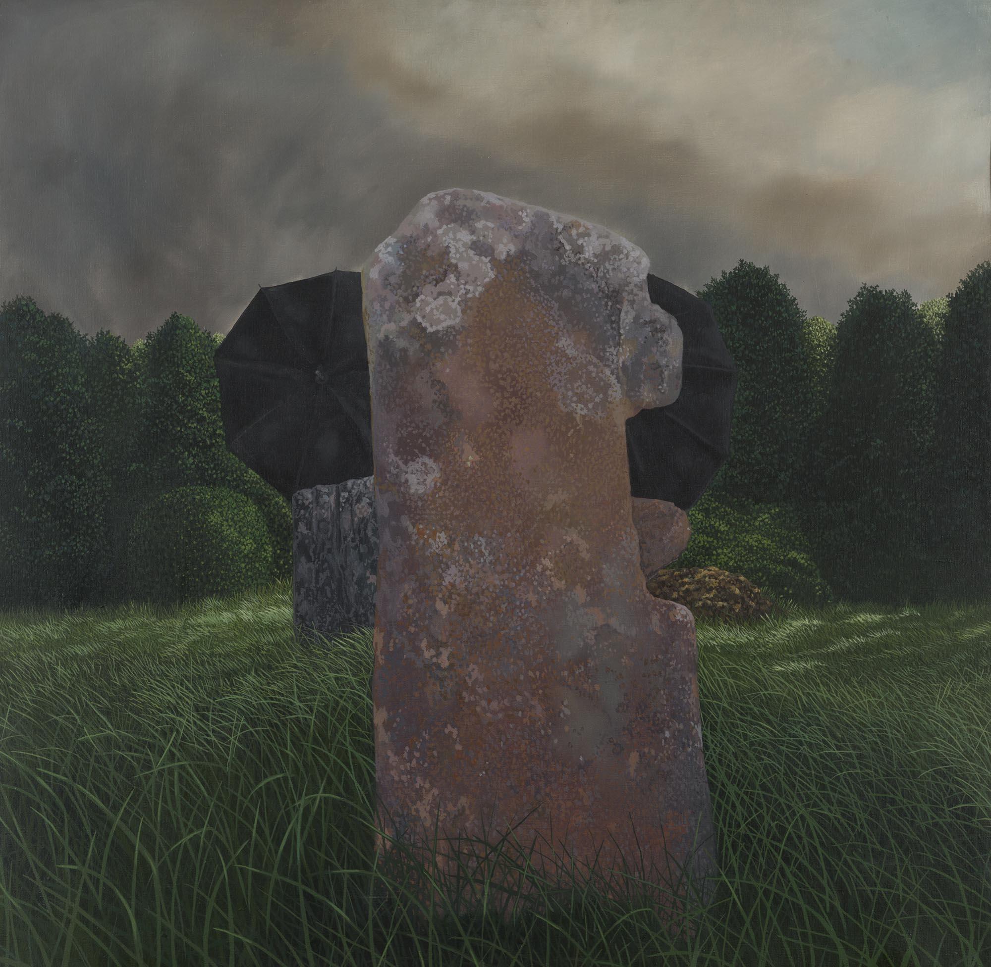 "Lot 6 - Trevor Geoghegan b.1946 FUNERAL AT BURGAGE Oil on canvas, 30"" x 30"" (76 x 76 cm), signed,"