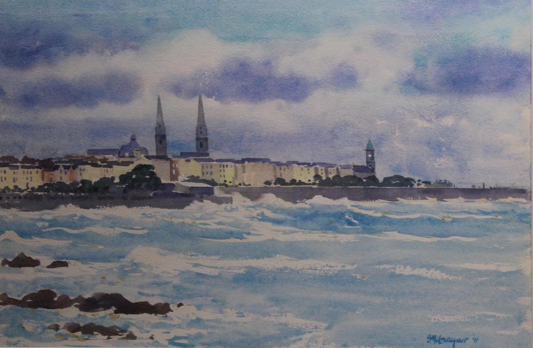"Lot 58 - Brett McEntaggert VIEW OF DUN LAOGHAIRE Watercolour, 12"" x 17"" (30.5 x 45.7 cm), signed & dated"