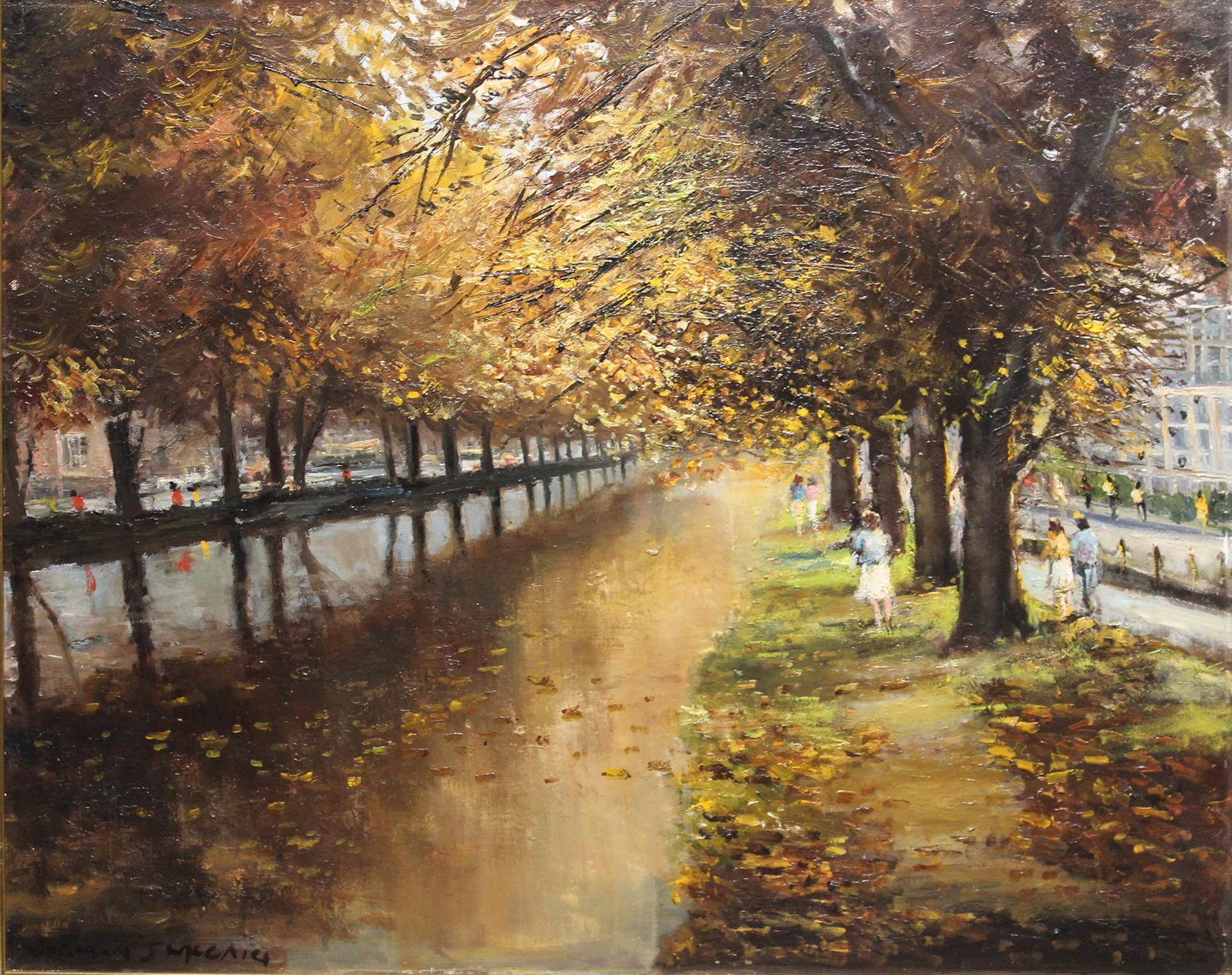 "Lot 28 - Norman J. McCaig CANAL SCENE, MESPIL ROAD Oil on canvas, 18"" x 22"" (45.7 x 55.8 cm), signed."