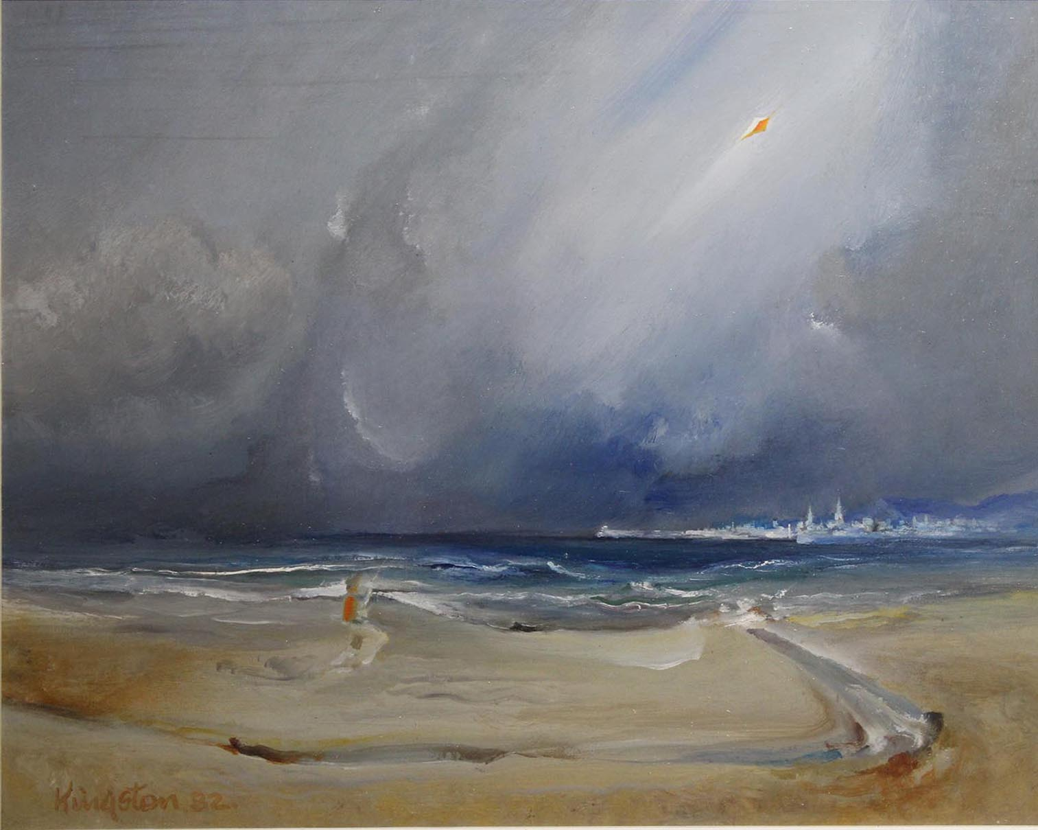 """Lot 54 - Richard Kingston SPACE FOR THE KITE FLYER Oil on board, 15"""" x 18 1/2"""" (38.1 x 46.4 cm), signed &"""