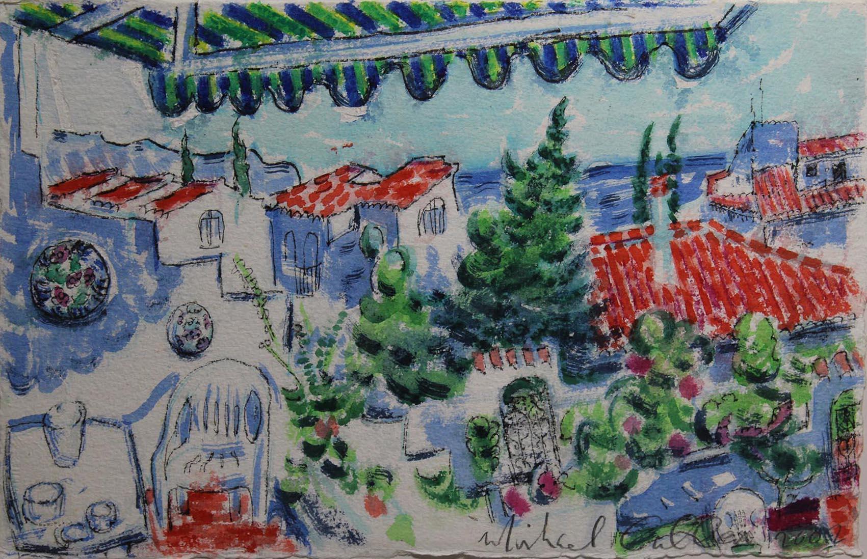 "Lot 3 - Michael Cullen HOLIDAY VILLAGE, NERJA, MALAGA Watercolour, 11"" x 17"", (28 x 43.1 cm), signed,"