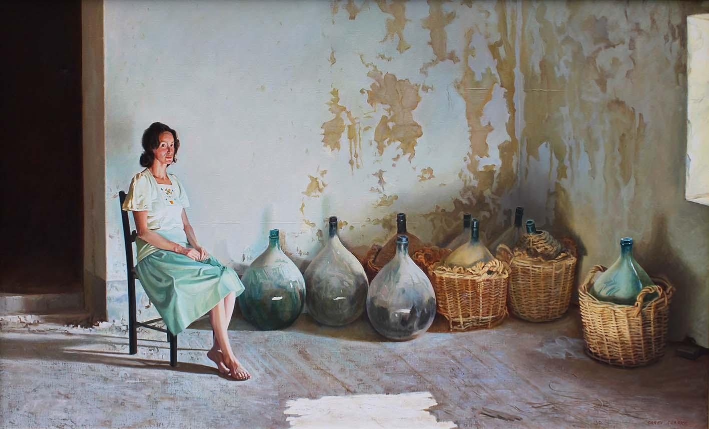 "Lot 42 - Carey Clarke PPRHA b.1938 INTERIOR AT MELLEZANO, TUSCANY Oil on canvas, 32"" x 56"" (81.5 142.2 cm),"