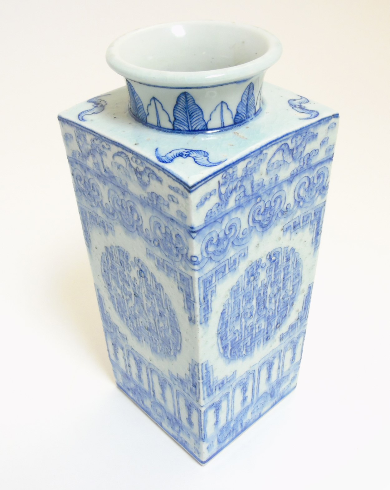 Lot 37 - A Chinese blue and white Cong shaped vase,