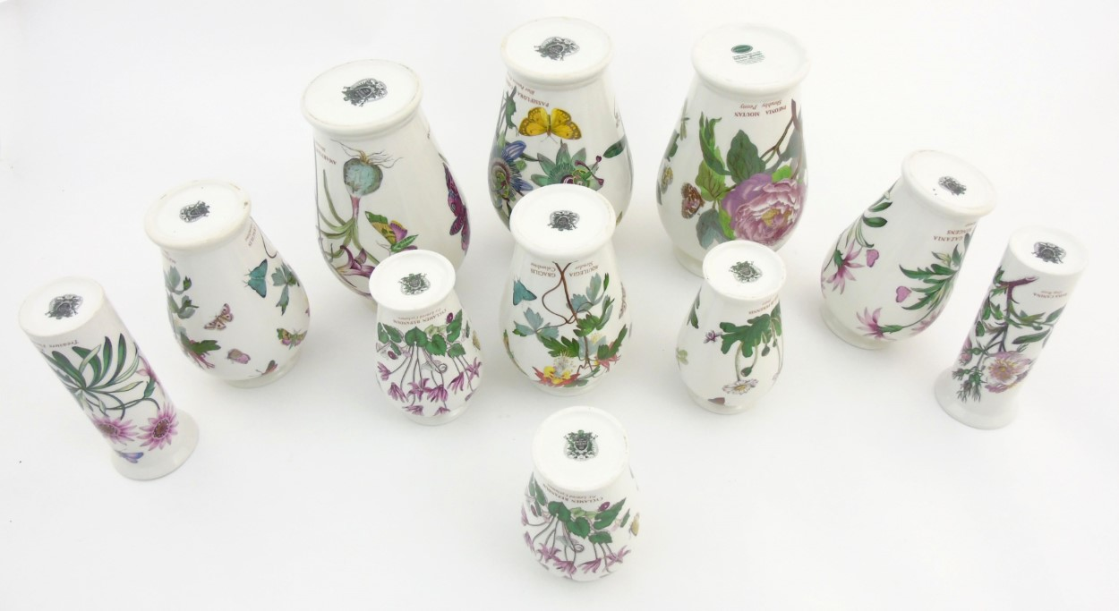 Lot 57 - A quantity of 11 Portmeirion 'The Botanic Garden' vases comprising 9 of baluster form and two of