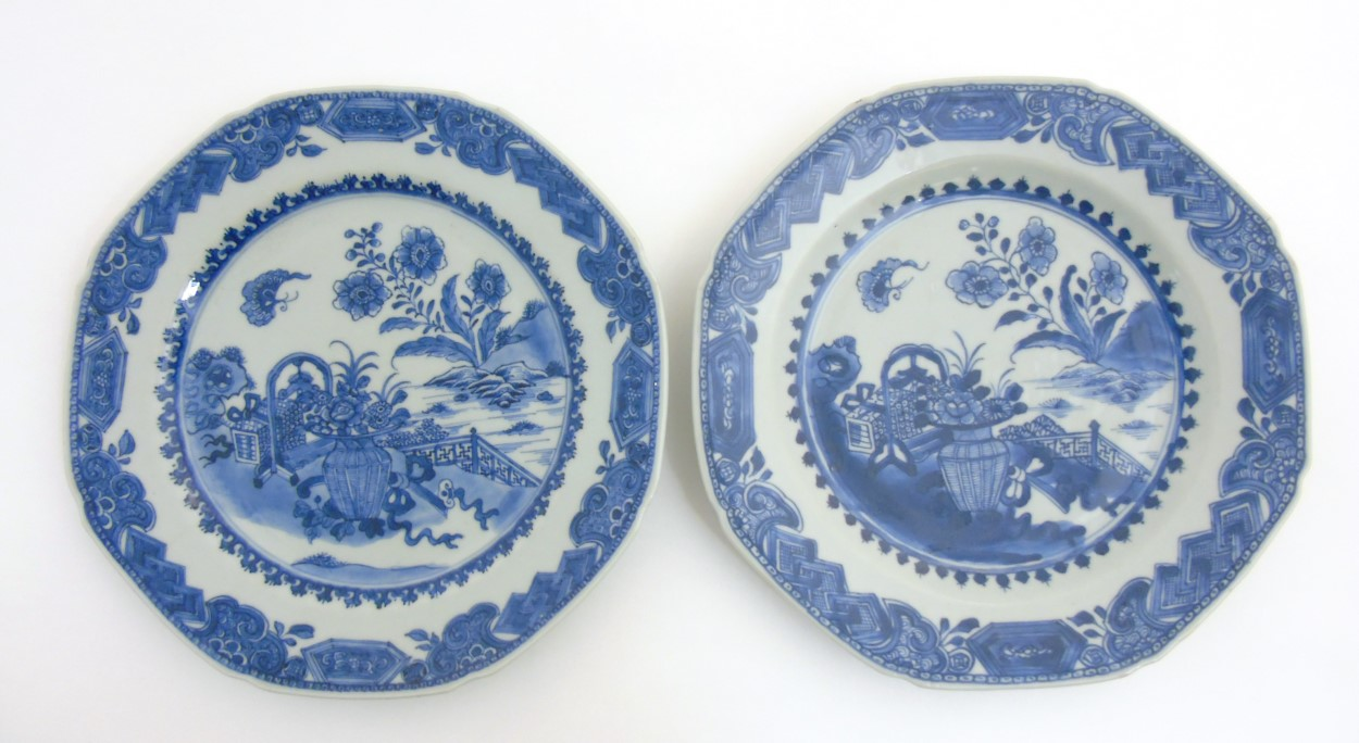 Lot 23 - Two Chinese blue and white octagonal plates with canted corners,