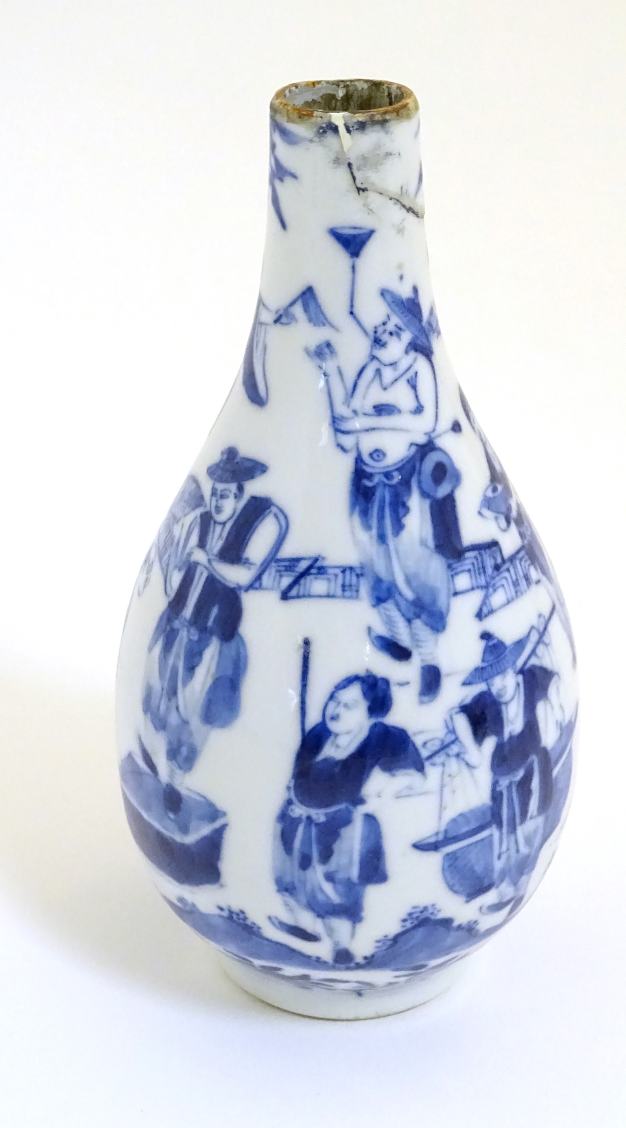 Lot 3 - An 18thC Chinese Tianqiu pear-shaped blue and white vase with figures in a pagoda garden setting at