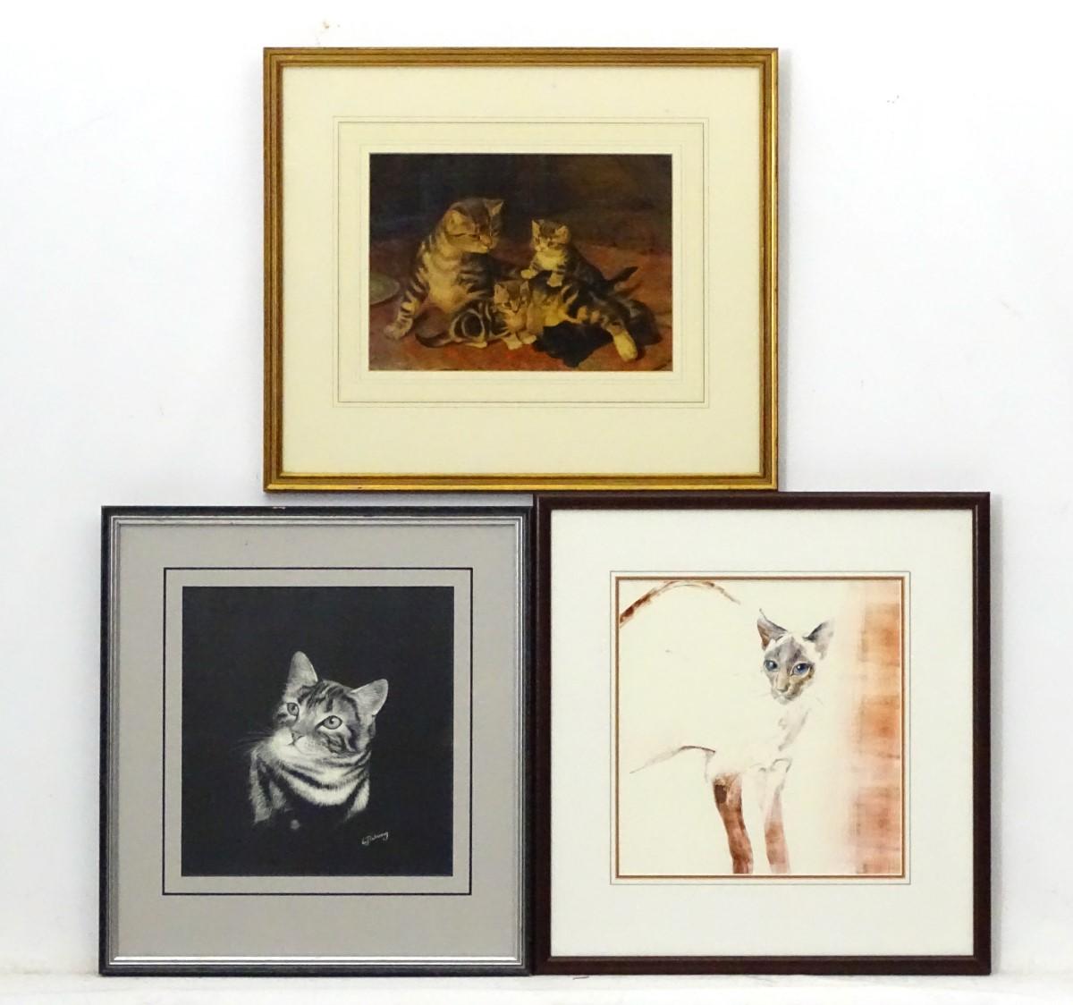 Lot 3 - Cats x 3, L J Waring, Scraper board, Facsimile signed Chromolithograph,
