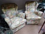 Lot 12 - A pair of small easy floral tapestry upholstered armchairs CONDITION: Please Note -