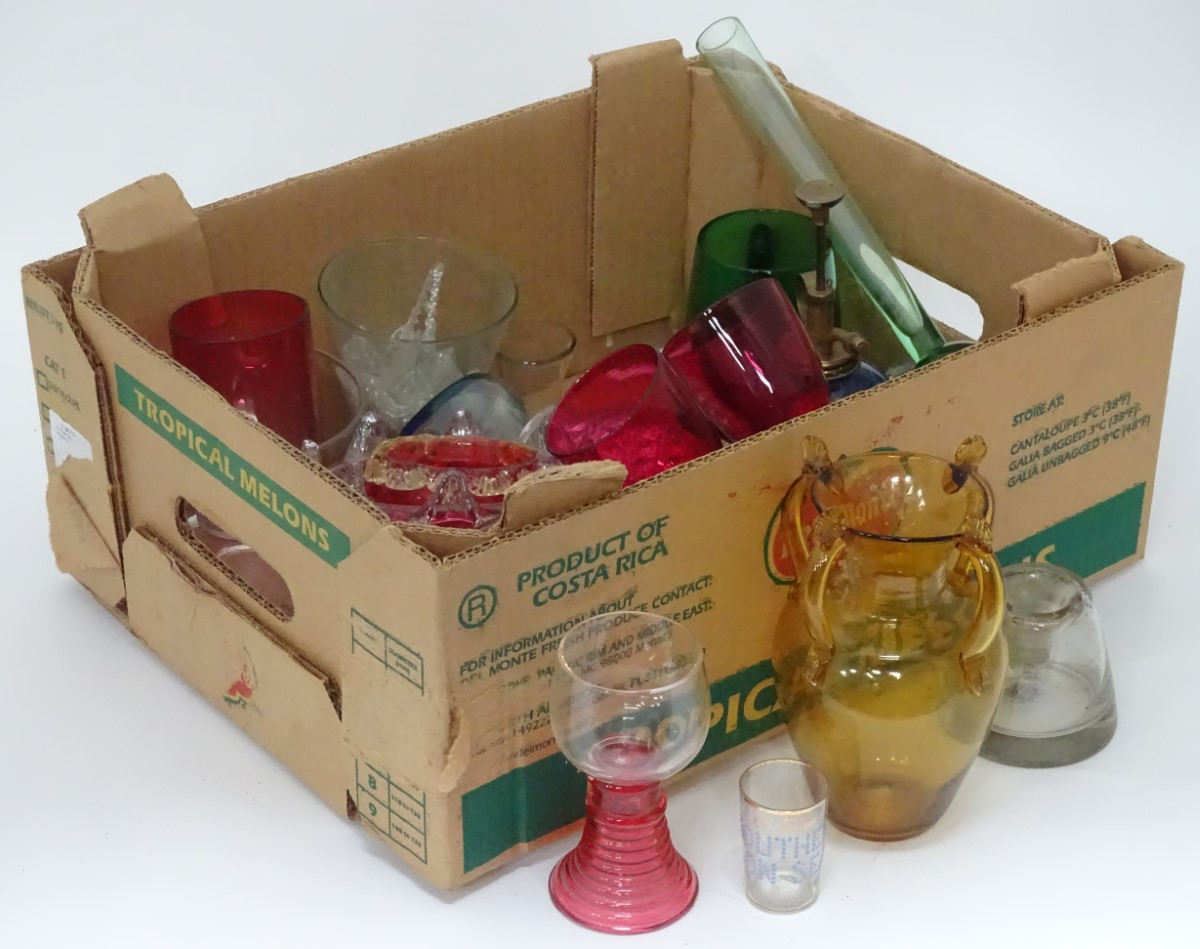 Lot 13 - A quantity of glassware to include hobnail cut jars, cranberry wine glasses etc.