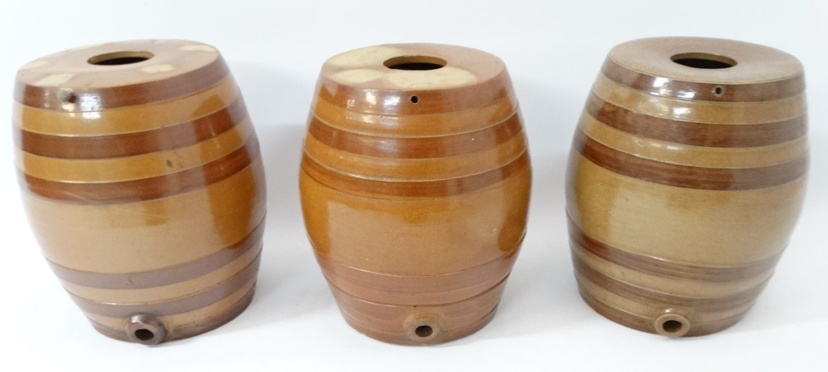 Lot 31 - Three Stoneware salt glazed 6 gallon barrels.