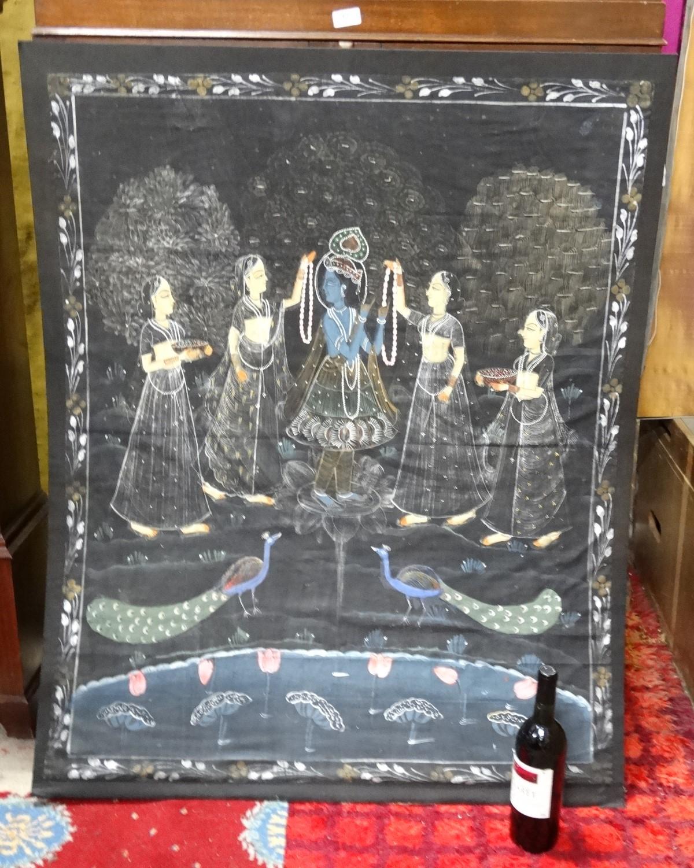 Lot 60 - Indian Hindu hand painted scene on fabric,