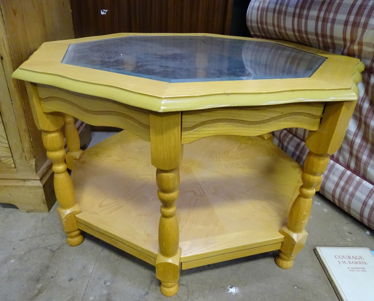 Lot 7 - A pine octagonal coffee table,