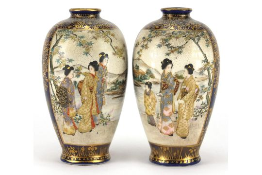 Pair Of Japanese Satsuma Pottery Vases Hand Painted With Panels Of