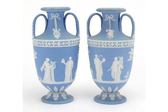 Pair Of Wedgwood Jasperware Urn Vases With Twin Handles Each