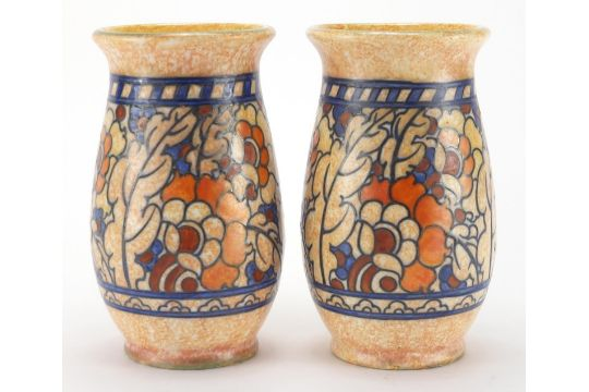 Pair Of Crown Ducal Pottery Vases By Charlotte Rhead Hand Painted