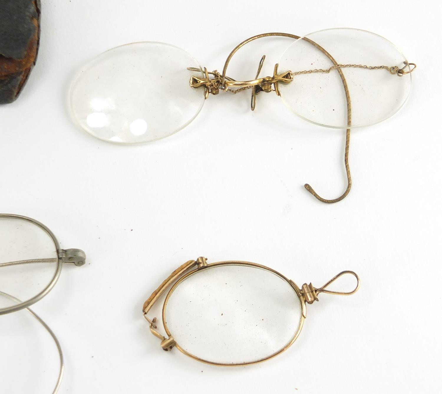 Lot 46 - Victorian and later spectacles including four with gold coloured metal mounts :For Further Condition