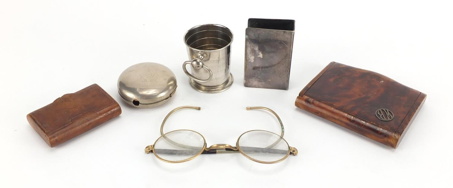 Lot 40 - Antique and later objects including a travelling beaker in the form of a pocket watch case, burr