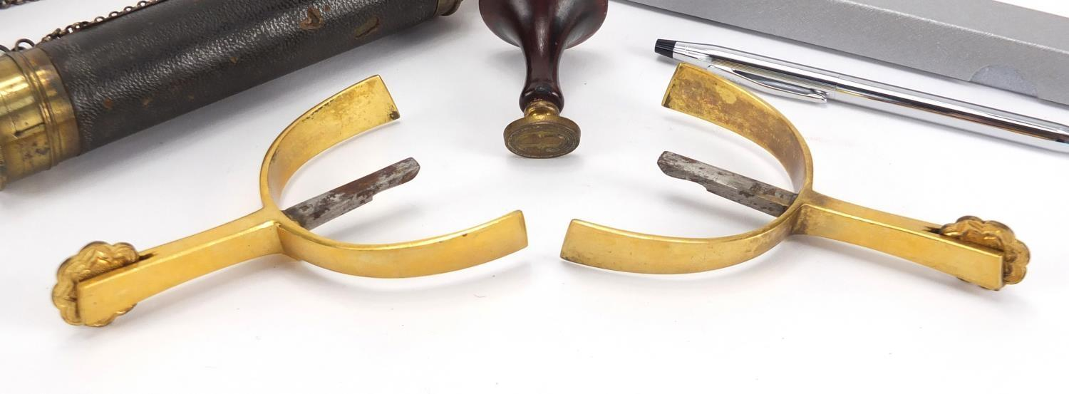 Lot 42 - Antique and later objects including a pair of gilt metal and steel spurs impressed Piccadilly