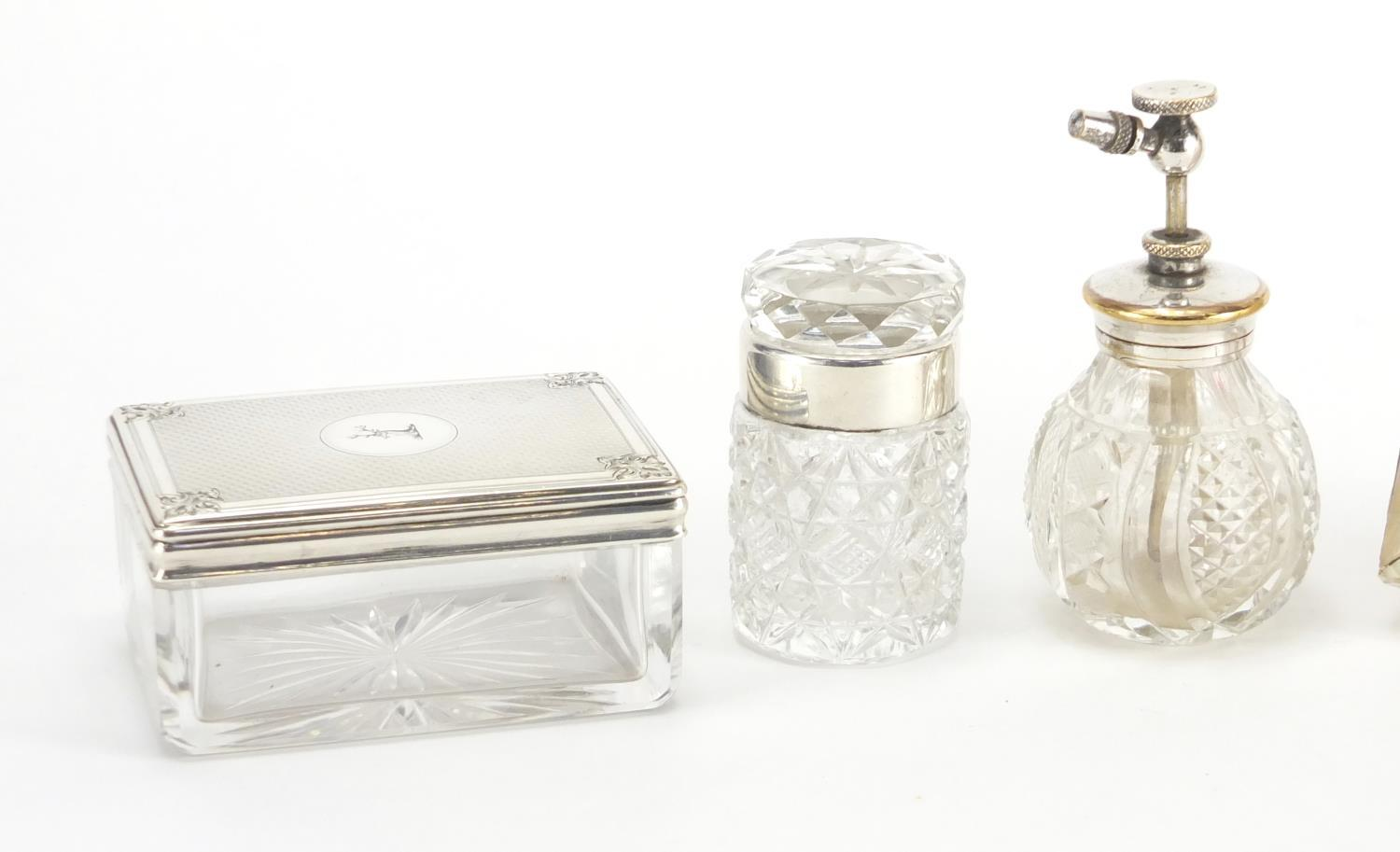 Lot 11 - Victorian and later objects including two glass pots with silver lids retailed by Briggs,