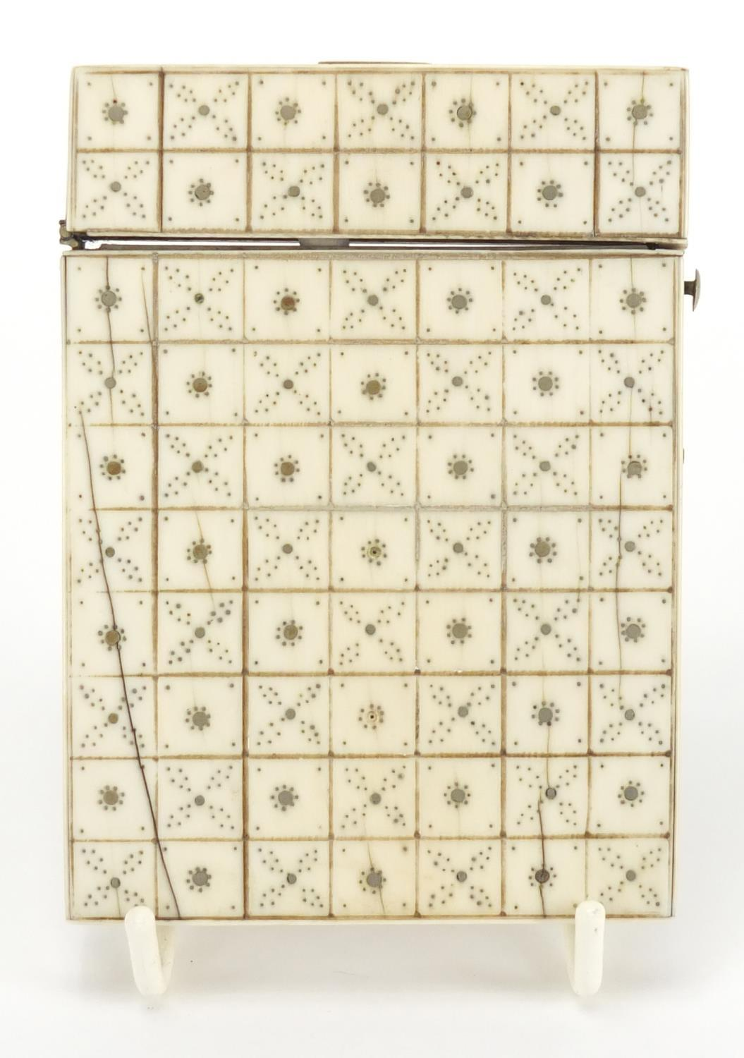 Lot 12 - Georgian ivory and pique work calling card case, 10.5cm x 7.5cm :For Further Condition Reports