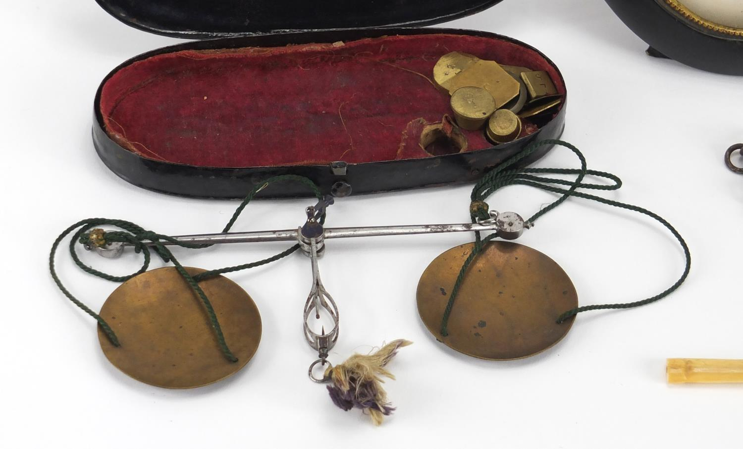 Lot 33 - Antique and later objects including a blonde tortoiseshell spectacle case, set of postage scales