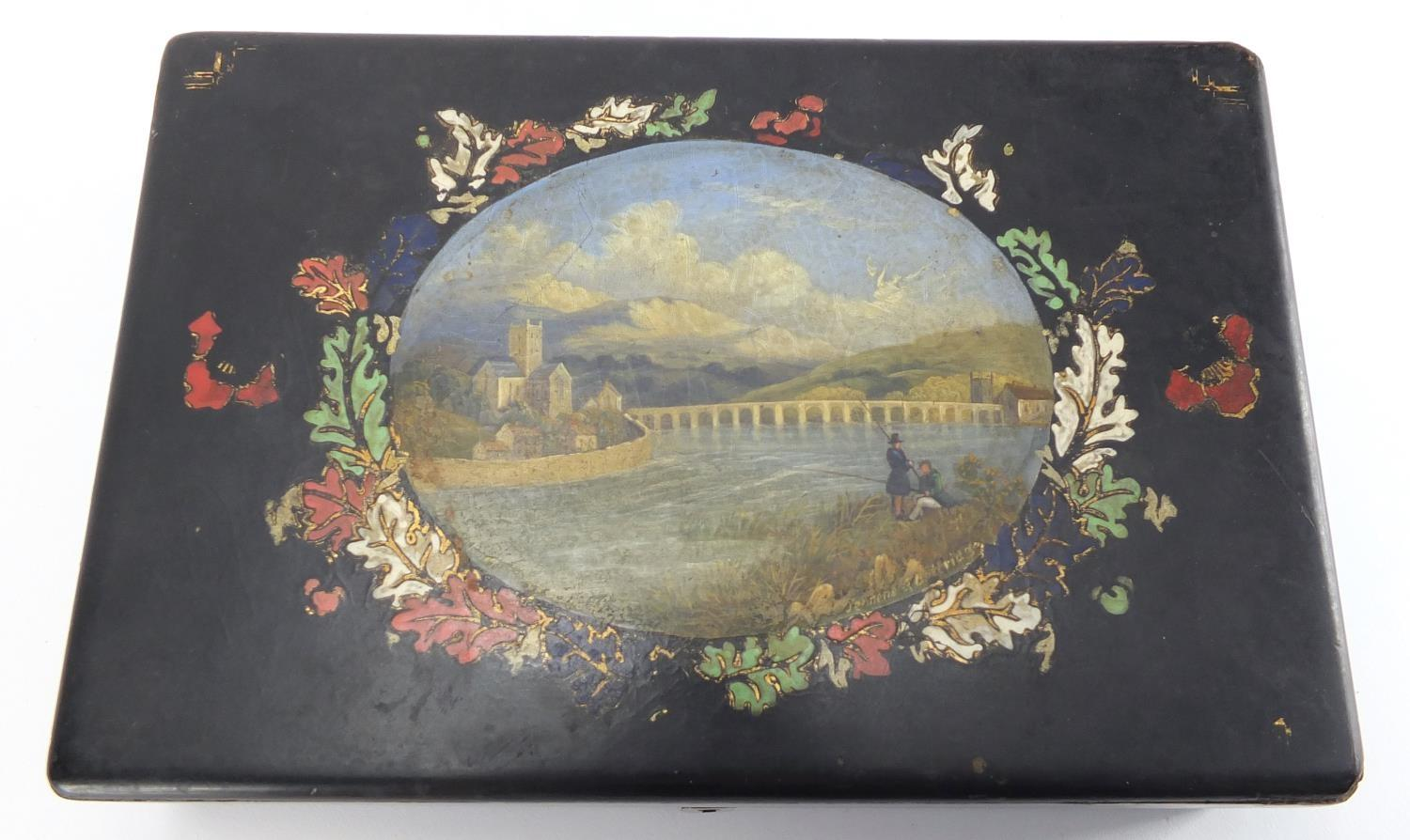 Lot 16 - Victorian Papier-mâché lacquered box by Jennens and Bettridge, the hinged lid hand painted with