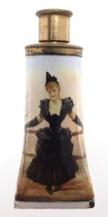 Lot 6 - 19th century continental enamel scent bottle with silver mounts, hand painted with a female