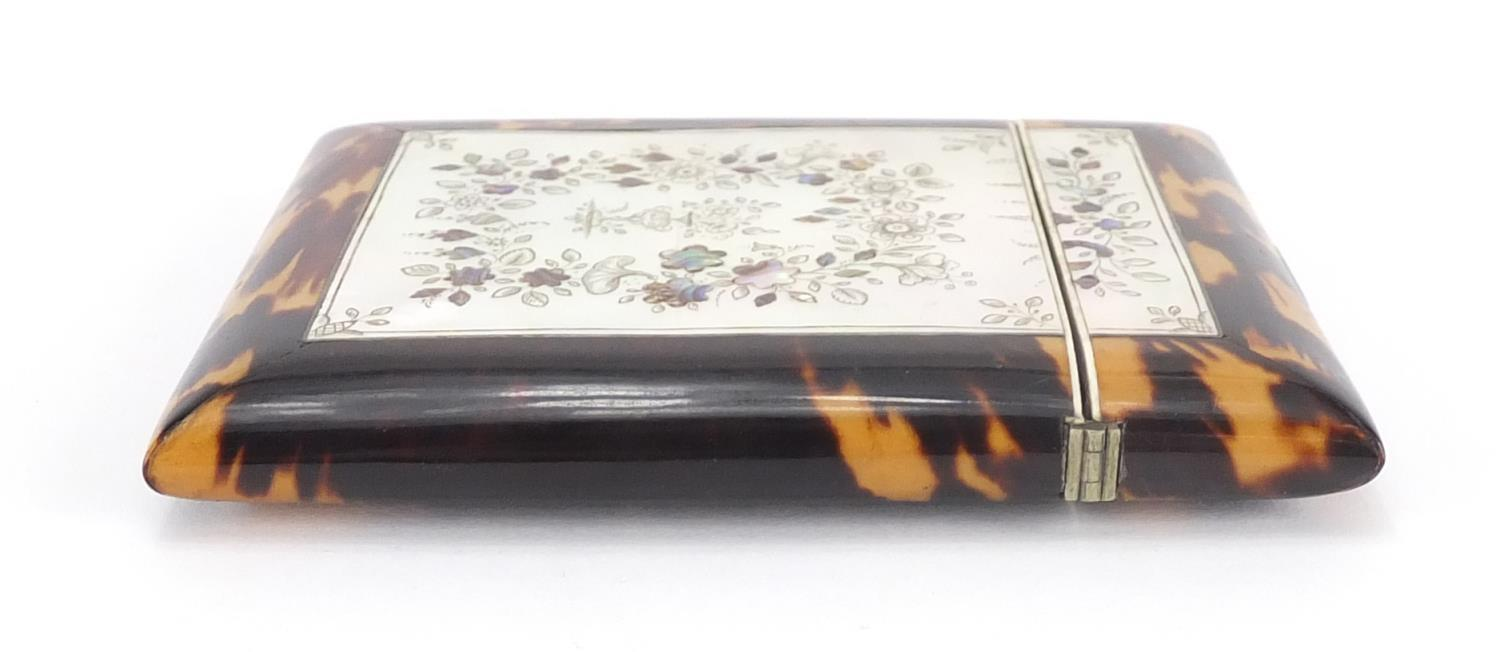 Lot 14 - Victorian blonde tortoiseshell, Mother of Pearl and Abalone calling card case, decorated with