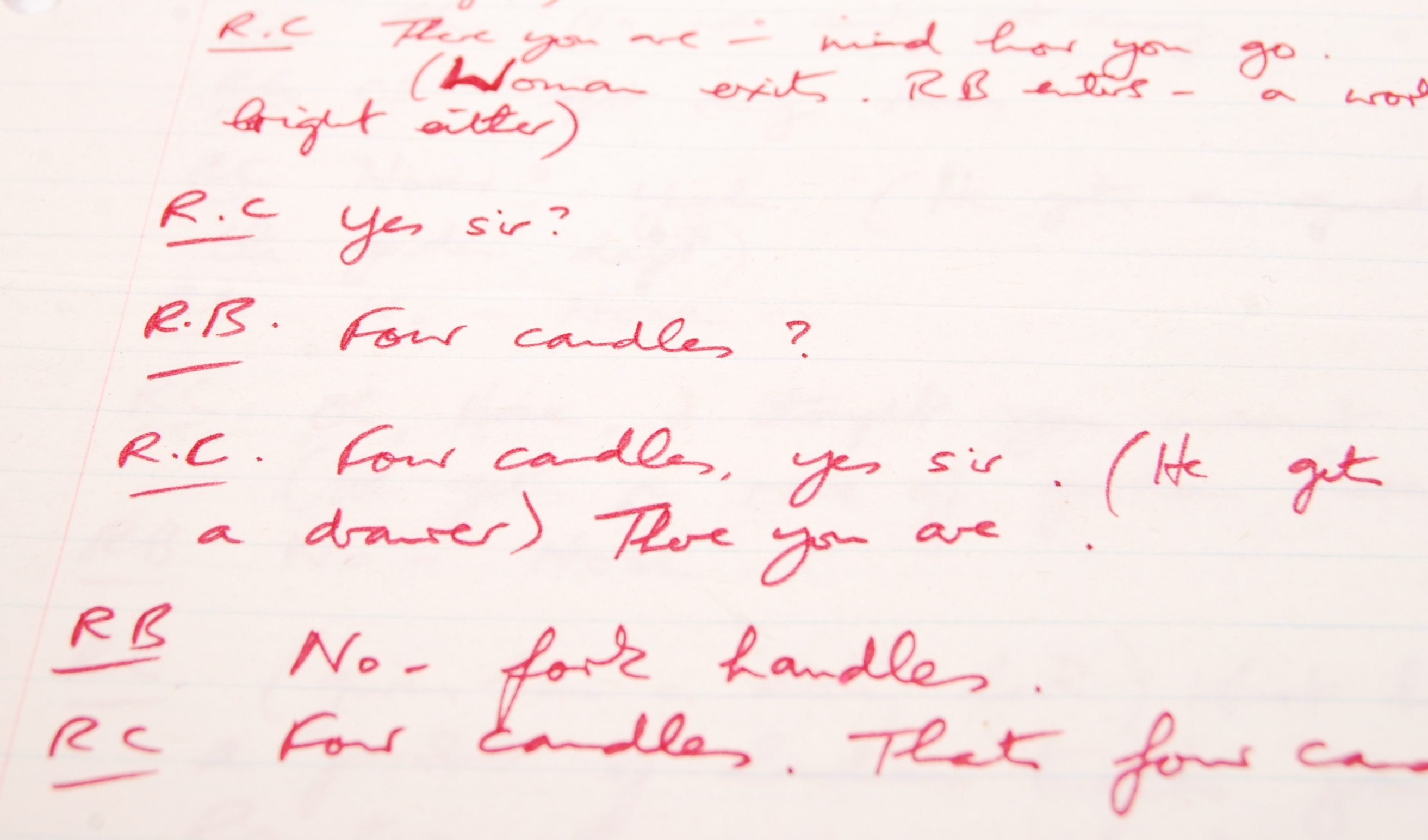 Lot 255 - RONNIE BARKER'S HANDWRITTEN TWO RONNIES ' ANNIE FINKHOUSE ' FORK HANDLES SCRIPT