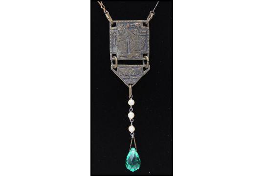 A 1930s Czech Egyptian Revival Pendant Necklace Having Ornate Chain