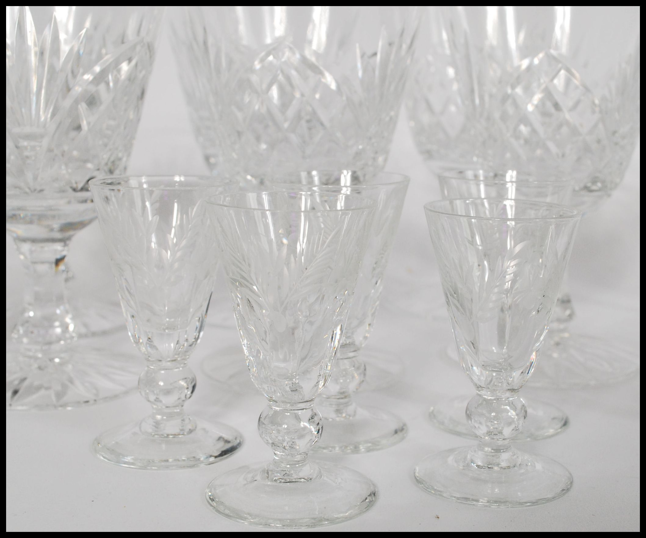 Lot 54 - A collection of vintage Royal Doulton cut glass crystal drinking glasses, to include large wine