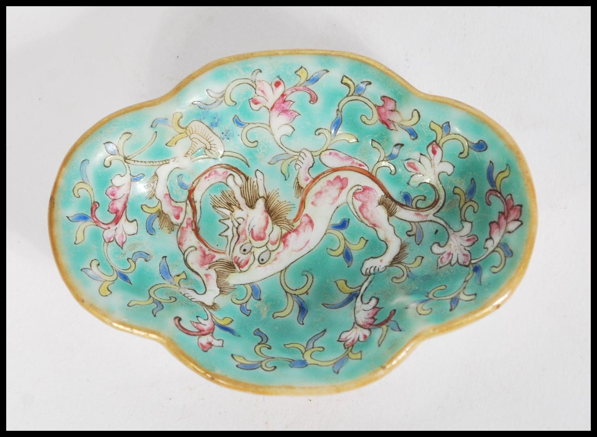 Lot 45 - A 19th century Chinese small brush water dish having hand painted and enamelled with dragon and