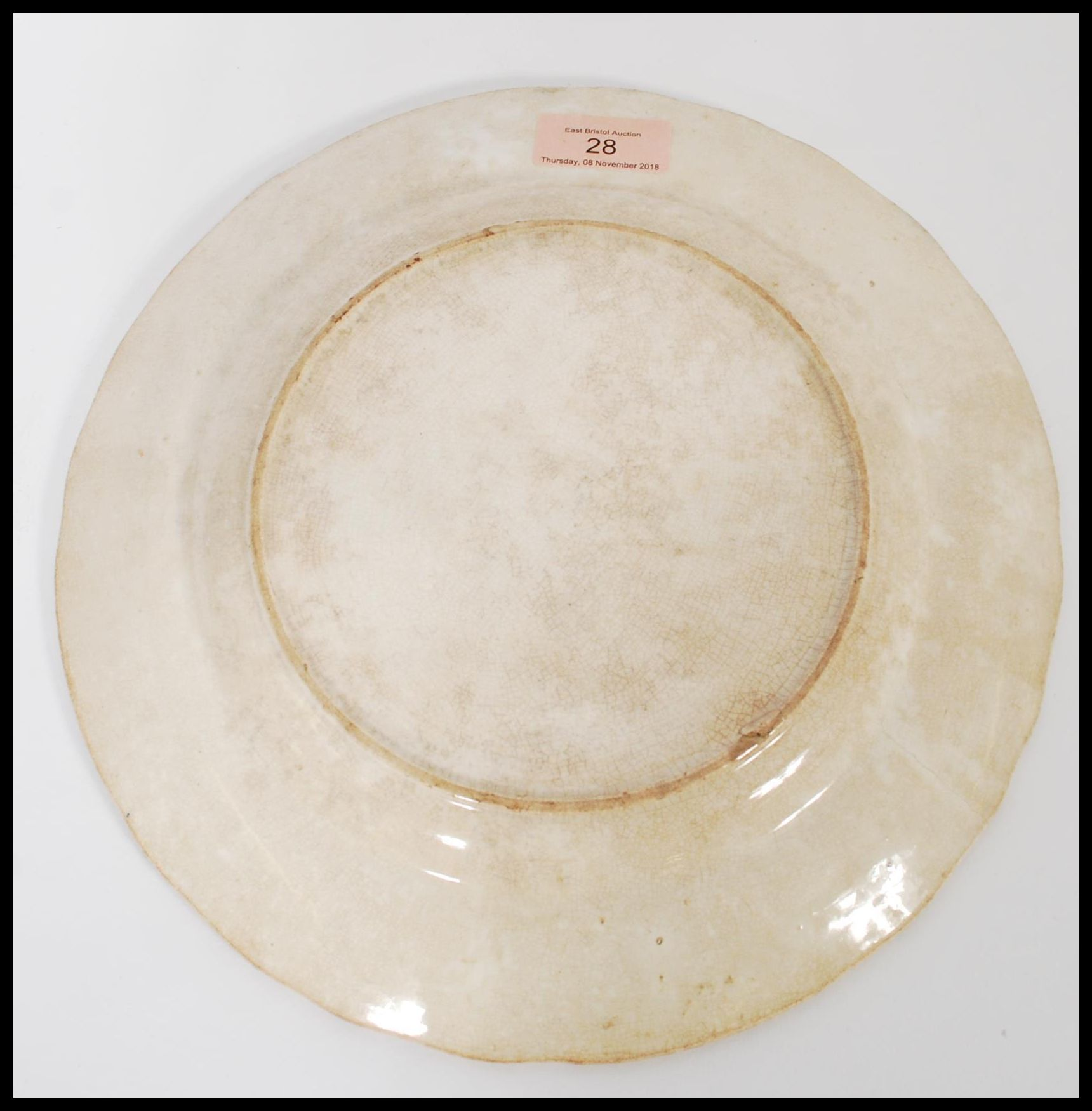 Lot 28 - Local Interest: A rare antique 19th century Bristol related pottery transfer printed plate with