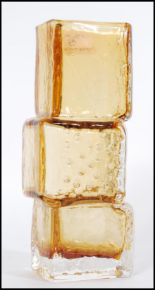Lot 35 - A vintage 20th century Whitefriars style amber drunken bricklayer vase in the manner of Geoffrey
