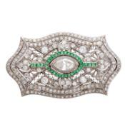 Belle Epoque Platinbrosche mit Diamanten von zus. ca. 2,85 ct. (Mittelstein ca. 0,75 ct.), SI -