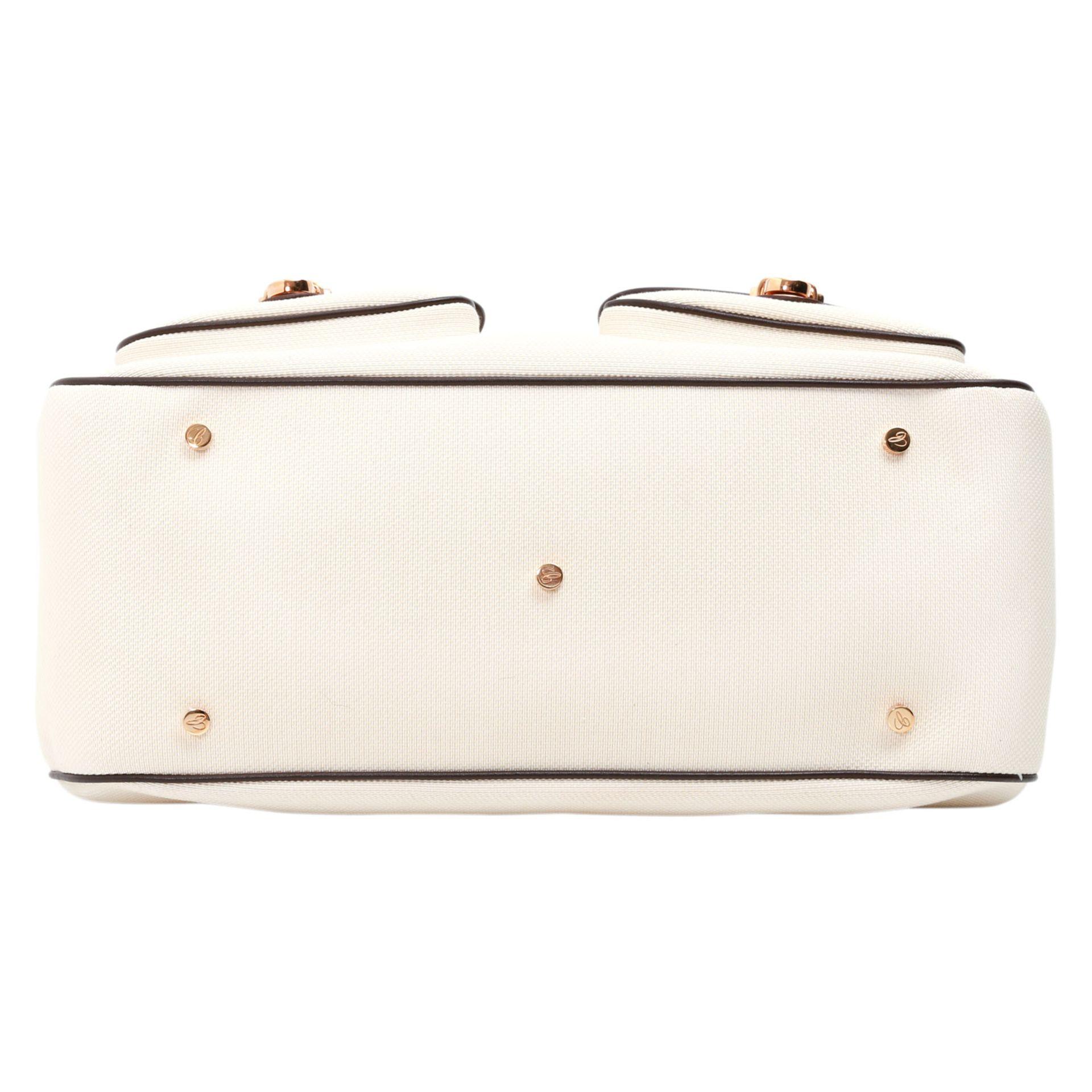 CHOPARD GENÈVE Henkeltasche. Bowlingbagform aus perlweißem Textil, bordeauxfarbene Lederdetails - Bild 10 aus 14