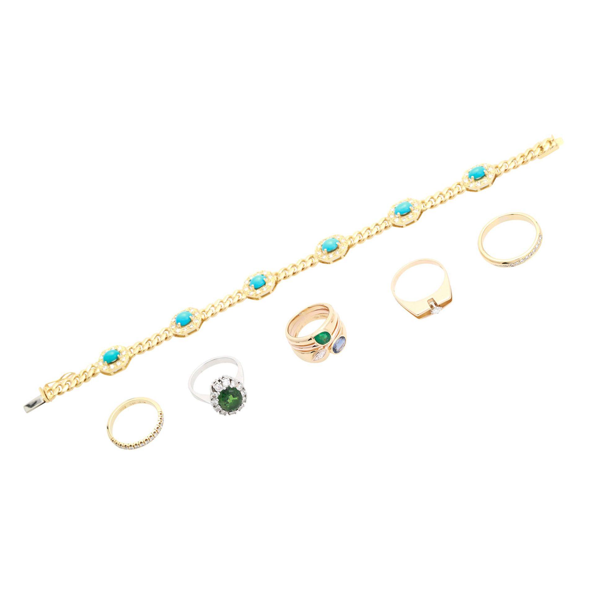 Los 20 - Schmuckkonvolut 6-teilig, Händlerkonvolut bestehend aus 5 Ringen und 1 Armband, GG / WG 18K, tlw.