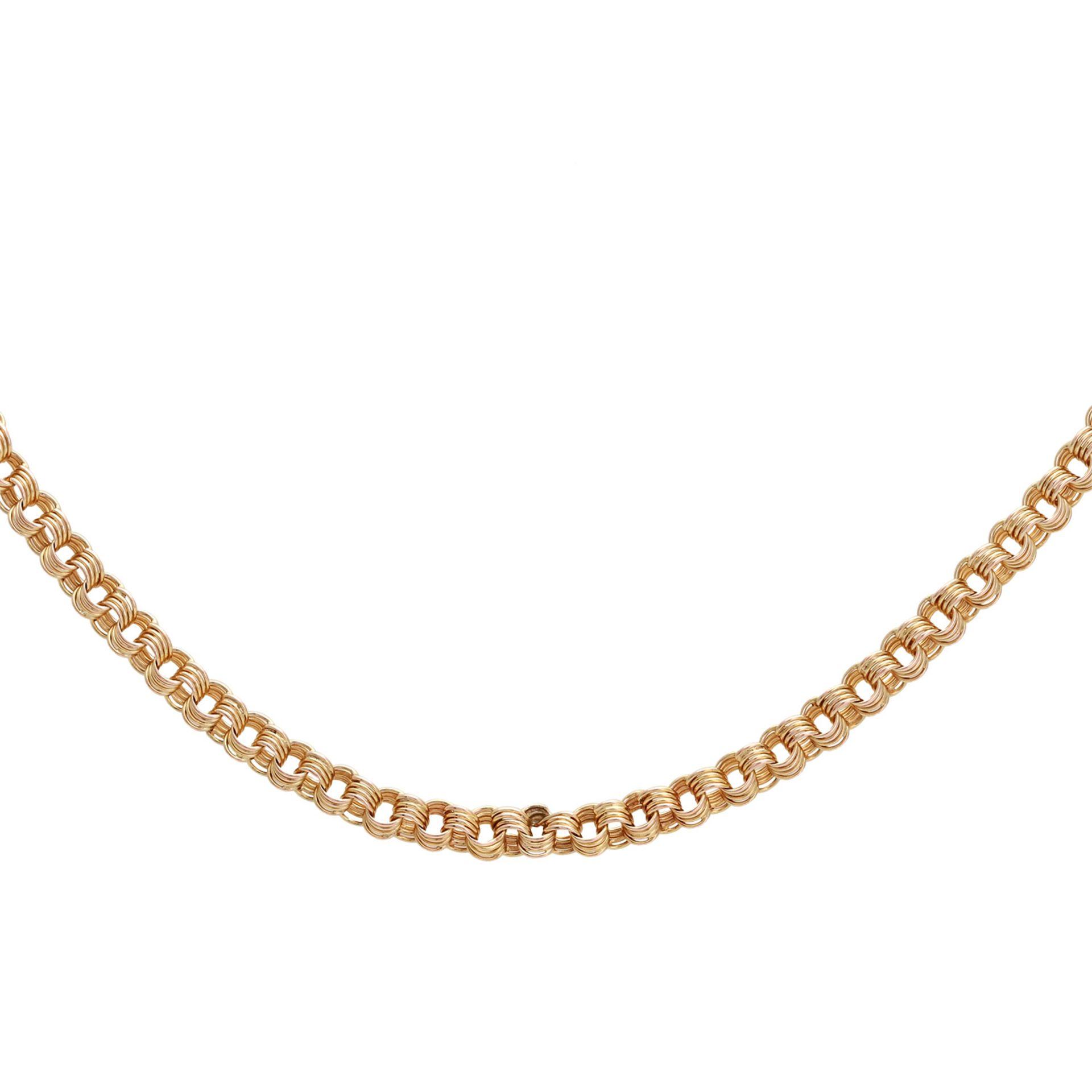 Los 127 - Halskette Fantasiemuster. GG 14K, feines Ösengeflecht, Länge ca. 51,5 cm, Russland.