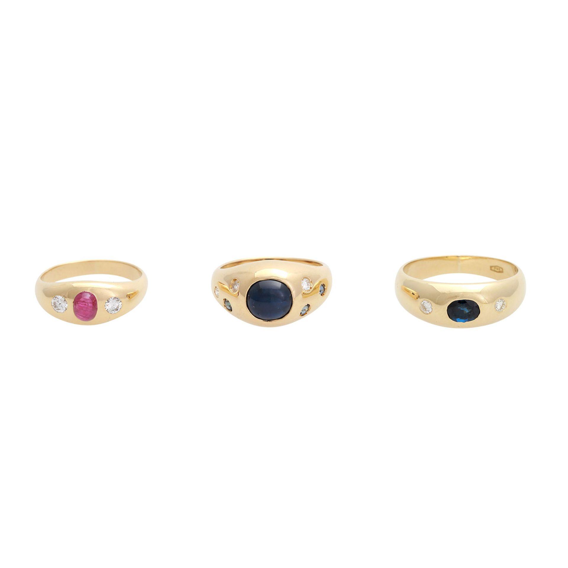 Los 5 - Schmuckkonvolut 8-teilig, Händlerkonvolut bestehend aus 8 Ringen mit Diamant- und Steinbesatz, 1x