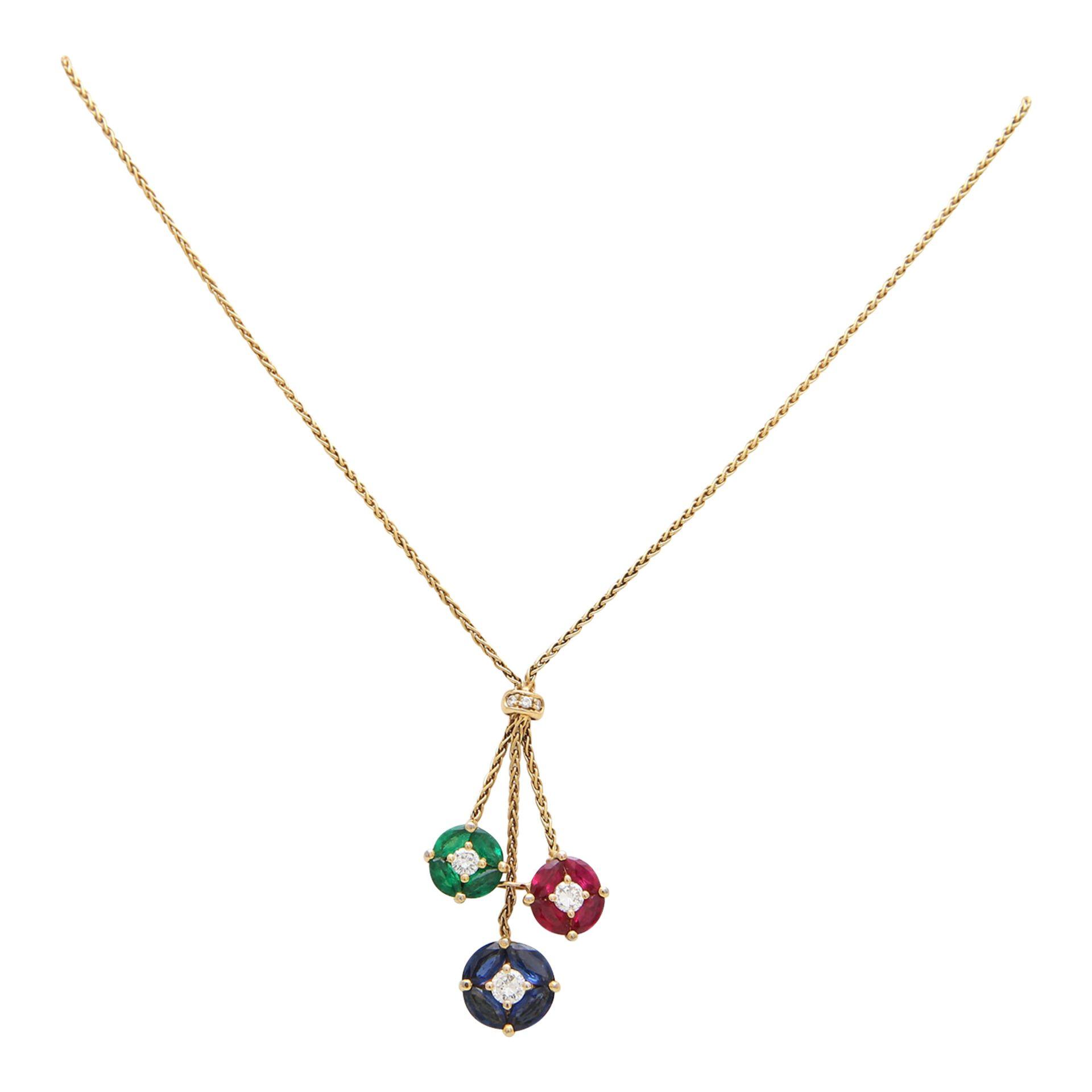 Los 46 - Zopfkette mit 3 Abhängungen aus runden Elementen, besetzt mit 3 Brillanten zus. ca. 0,50 ct WEIß (H)