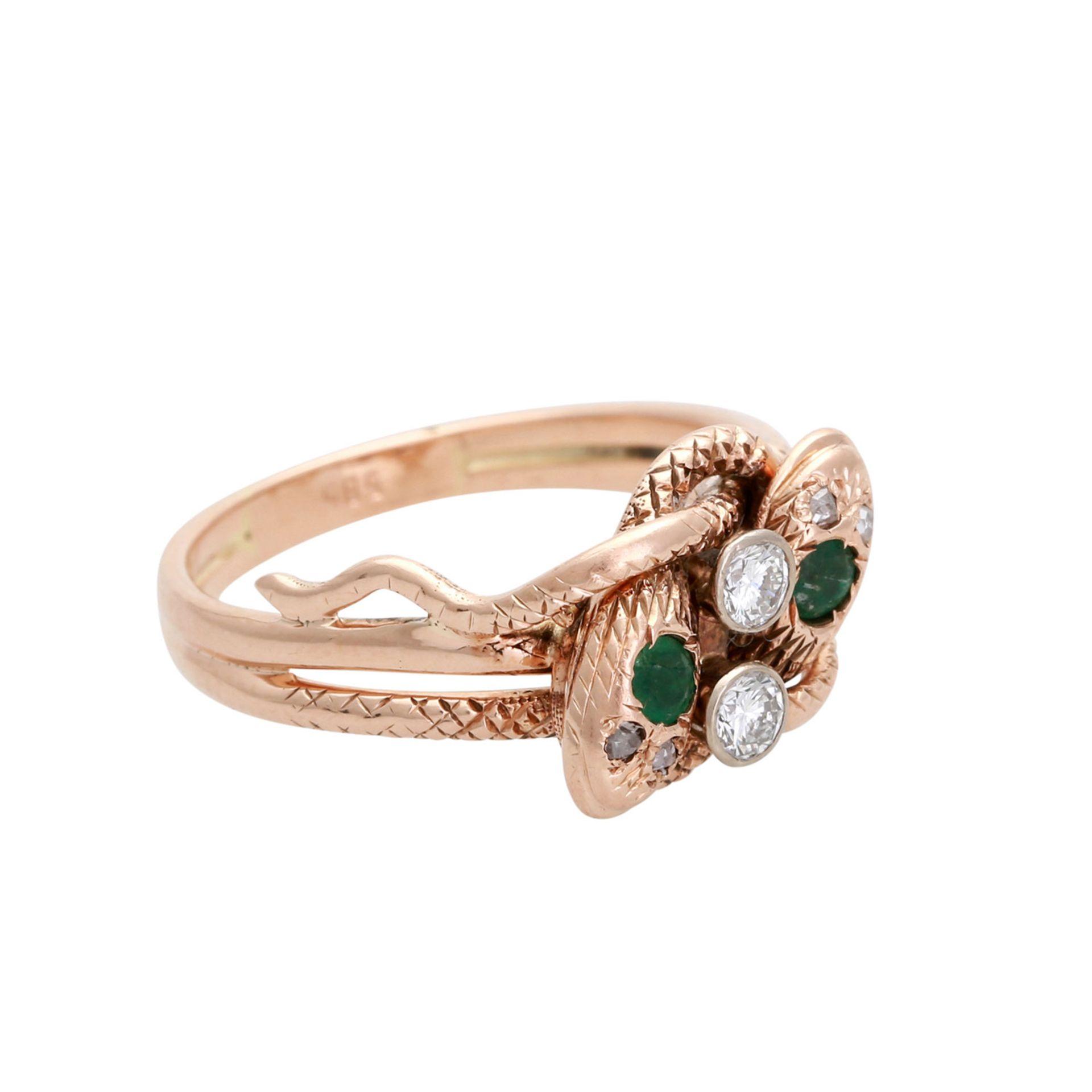 Los 86 - Schlangenring mit Edelsteinen, 2 Brillanten und 4 Diamantrosen von zus. ca. 0,18 ct., VSI, LGW (